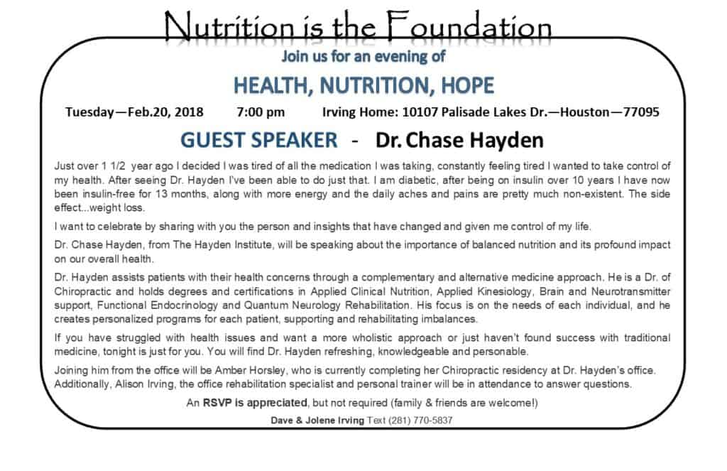 Nutrition is the Foundation with Dr. Chase Hayden